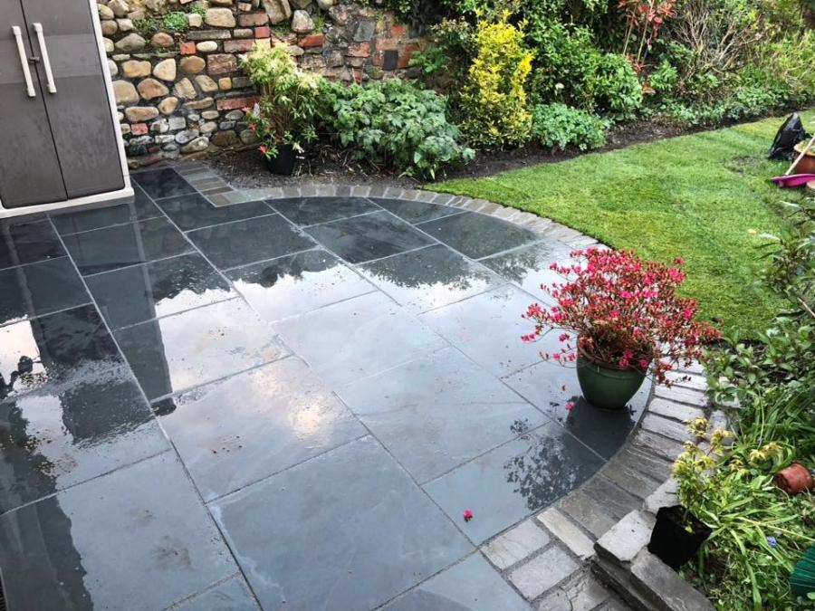 Grey slate patio